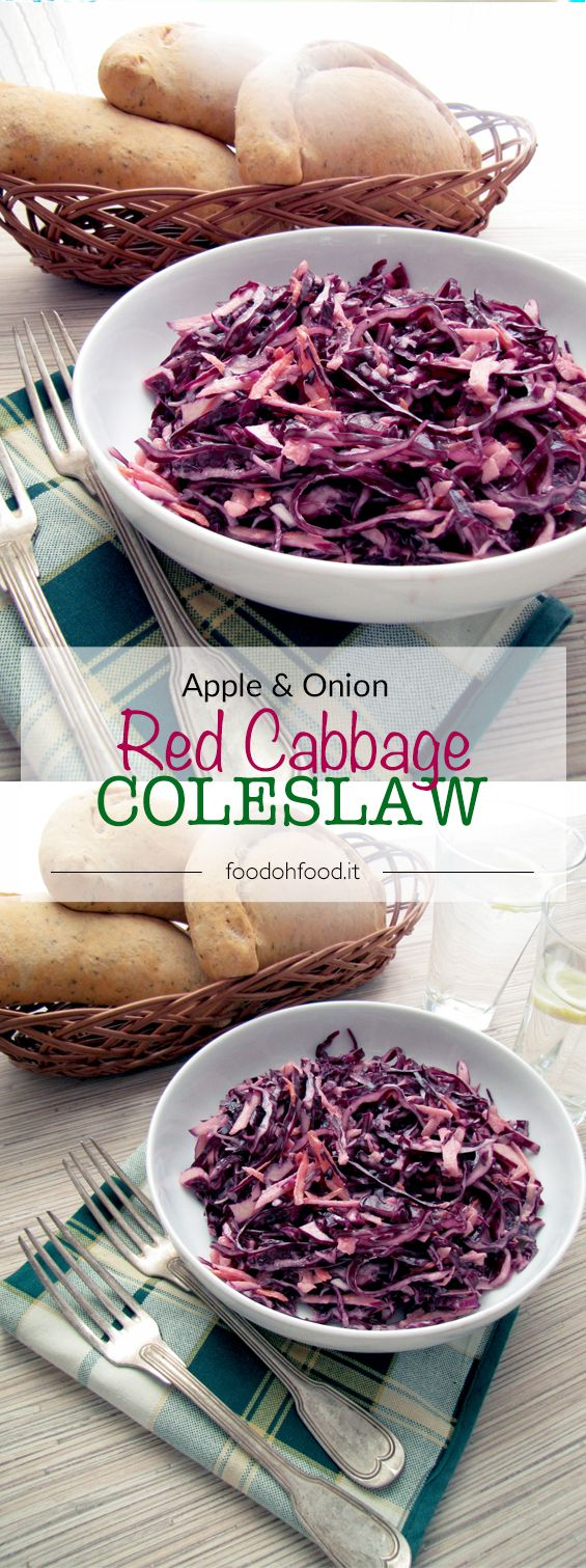 Red cabbage and apple coleslaw. Quick and easy vegetable side dish.