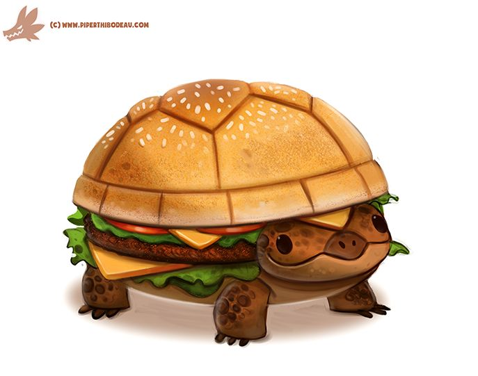 Daily Paint #1098. Turtle Burger by Cryptid-Creations Time-lapse, high-res and WIP sketches of my art available on Patreon (: