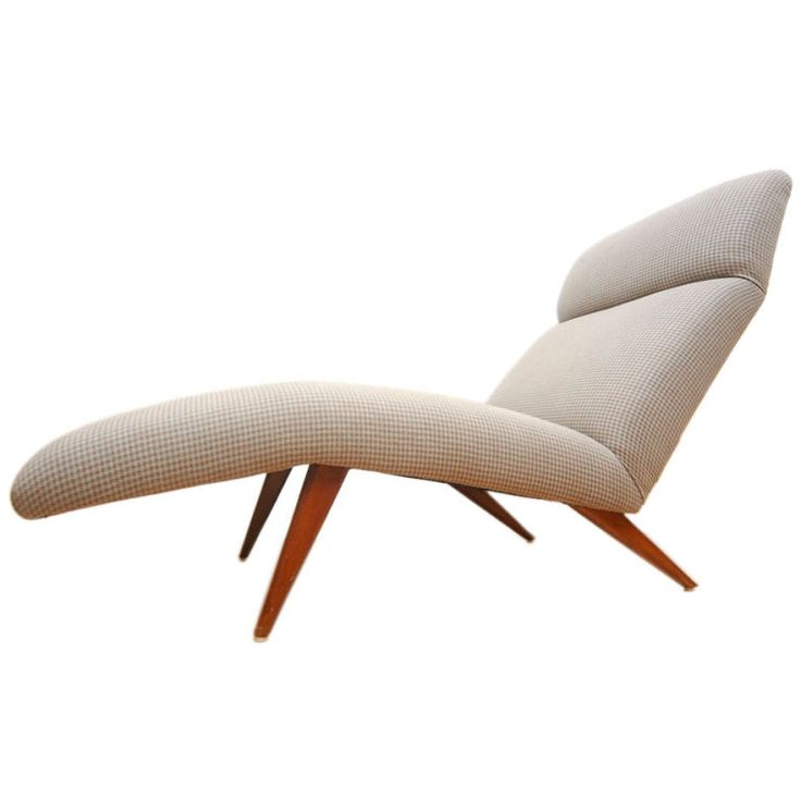 Mid-Century Chaise Lounge Chair Houndstooth Fabric  sc 1 st  Pinterest : fabric chaise lounge - Sectionals, Sofas & Couches