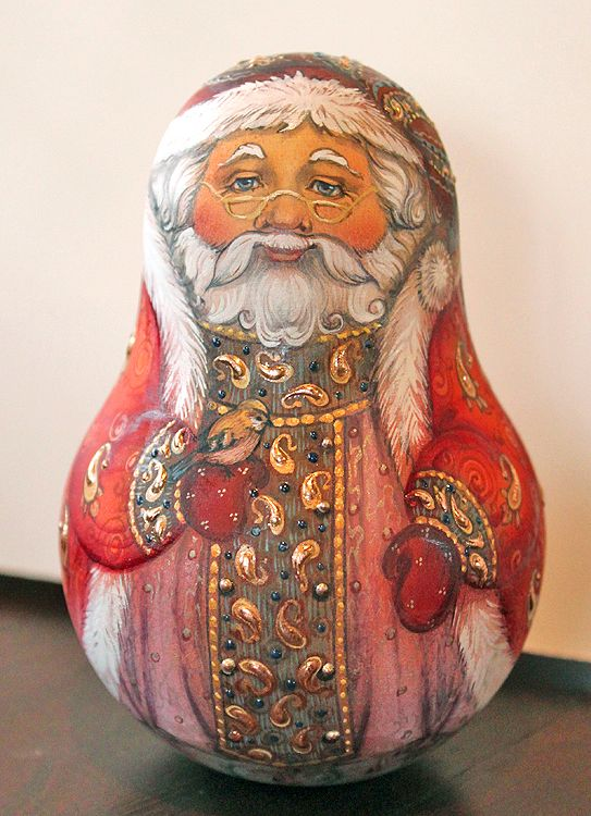 Hand-painted Russian Santa Roly-Poly