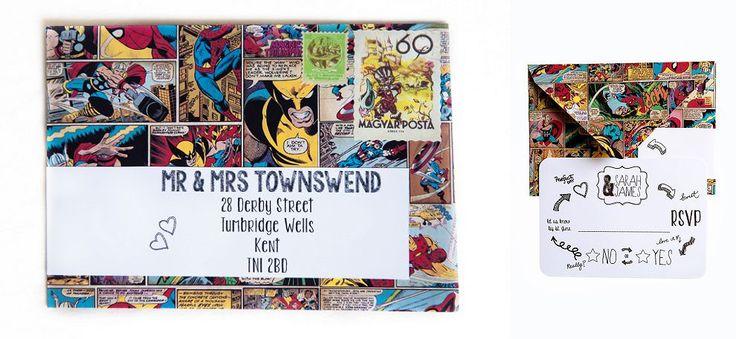 Superhero comic book wedding stationery invitations