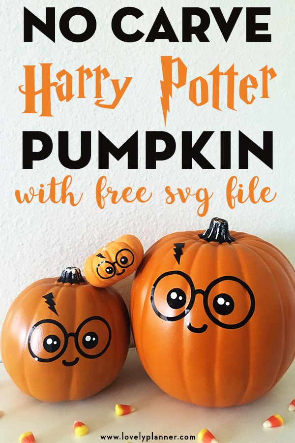 Cute & Easy DIY No Carve Harry Potter Pumpkin (+ free SVG file