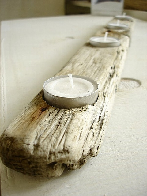 DIY Driftwood candle holder... use Candle Impressions flameless tea lights to make this much more safe!