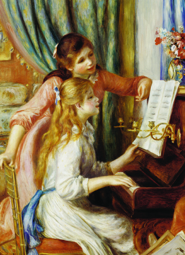 EuroGraphics Girls at Piano by Pierre Auguste Renoir 1000-Piece Puzzle. Pierre-Auguste Renoir was invited by the French government to produce a painting for the new Musee du Luxembourg in Paris. He chose as his subject two girls at the piano. Renoir lavished extraordinary care on this project, refining its composition in a series of five canvases.