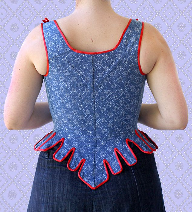 18th century stays and stomacher made made from blue shweshwe and red taffeta.