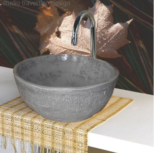 Handmade percher sink Theon dimension 37 x 15.5 in color light grey.