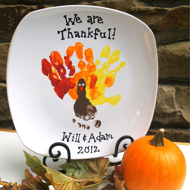 Thanksgiving Handprint Turkey Plate pinned by