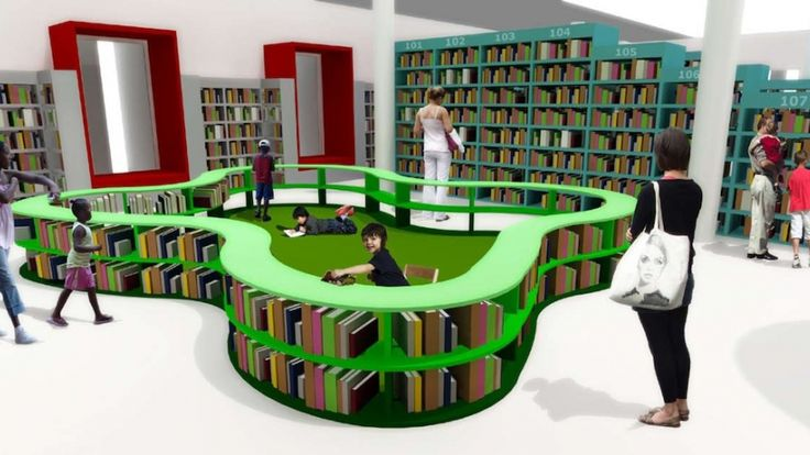 The reading pen in the toddler zone creates a safe space for reading and drawing. Image: Y Tsai Design. From Y Tsai's interior for the Belville Children's Library that strikes a balance between space for books and space for reading.