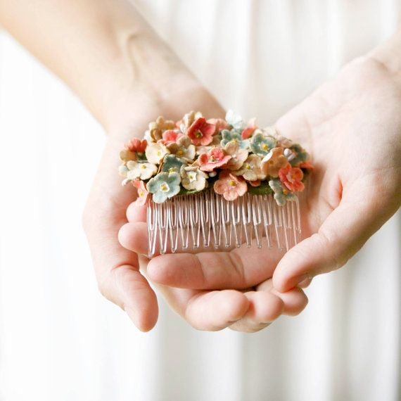 vintage pink flower hair comb 'darling' by whichgoose on Etsy