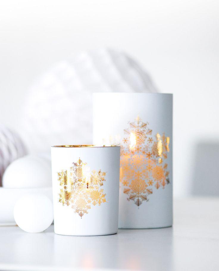 Photophore verre laqué flocon 20cm blanc et or-Bougies-la-francaise