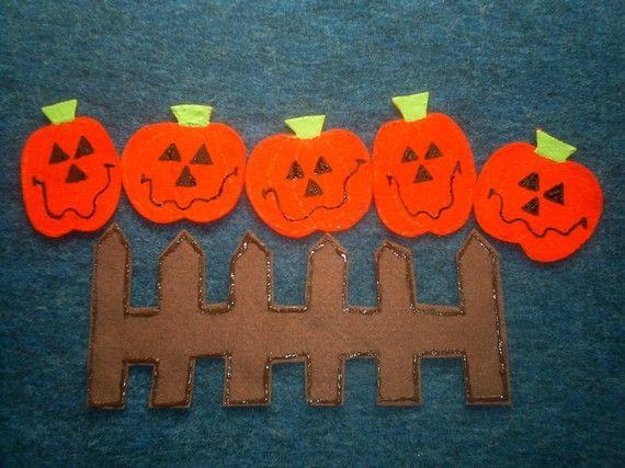 Five Little Pumpkins quiet book page idea.