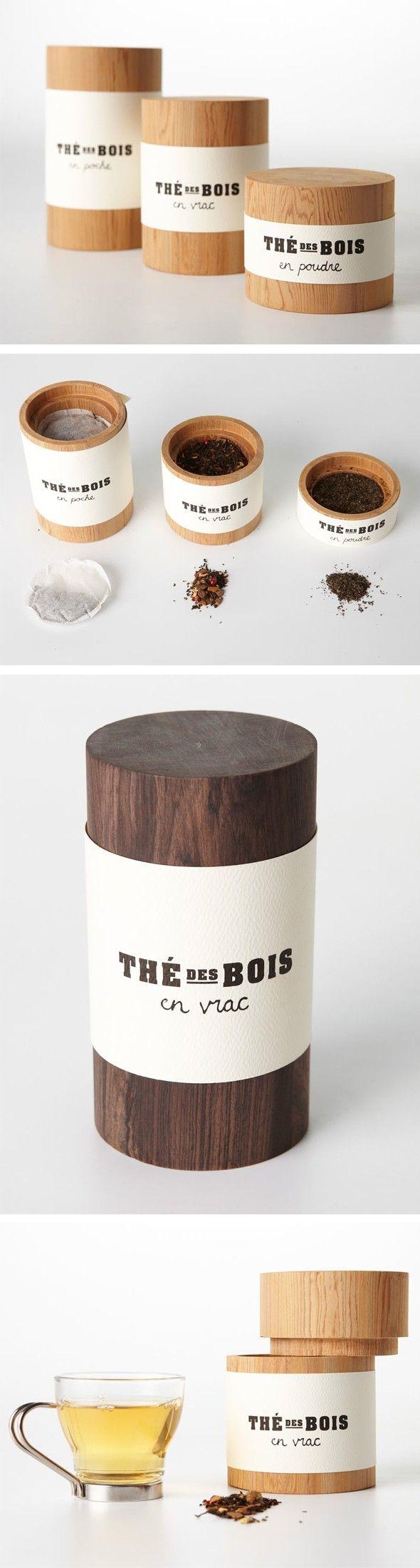 Packaging en bois Voici une série d'emballages permettant une seconde vie à la disposition du thé en poche, en poudre et en vrac. Ces contenants cylindriqu