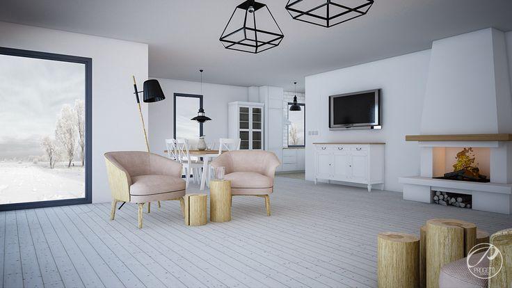 Dom w stylu skandynawskim  Przestronny salon w stylu skandynawskim. Living room. Progetti Architektura