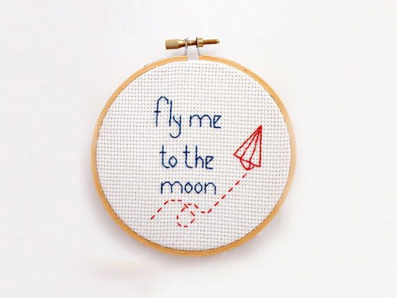 Fly me to the moon Cross Stitch PATTERN by LanasCrespo on Etsy, $4.00