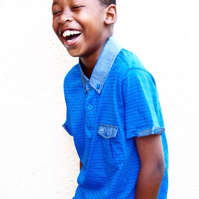 Life is better when you are laughing. Life is also better when you're dressed in the finest threads from Jonathan D. #JonathanDAfrica #fashion #style #boysfashion #tee #laughing #summer #boyswear #trend #threads Lesemi wears the JD SANMF809 tee in royal.