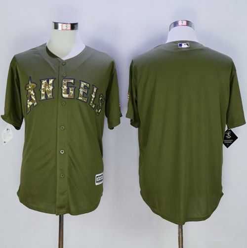 5865e285 Angels of Anaheim Blank Green Camo New Cool Base Stitched Baseball Jersey