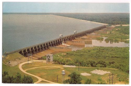 Lake Marion South Carolina, Santee Dam and Spillway, vintage view