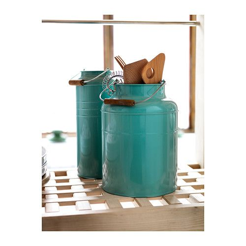The IKEA SOCKER canisters come in a set of 2, in different colors, and it can be a great vase for flowers or a holder for Mom's favorite tools!