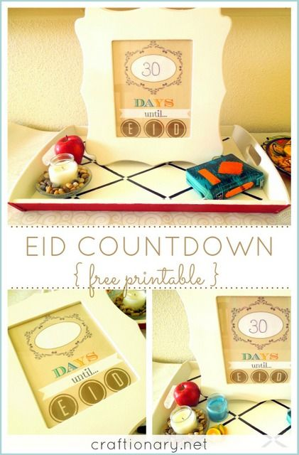 Eid countdown tray.. I might try this instead of the advent calendar this year. Takes up less space, less supplies needed. Just switch out the date printout daily. I only need a try large enough to fit daily gifts for four, which shouldn't take up much space anyway. :)