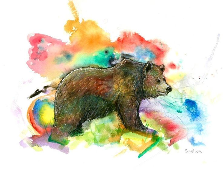 "🌈Rainbow Bear🐻 $20 11x14"" Prints 4 Sale! This fuzzball makes an excellent Present 🎁 #suzywilsonart #bear #grizzlybear #watercolor #watercolourpainting #painting #rainbow #westcoast #britishcolumbia #wallart #homedecor"