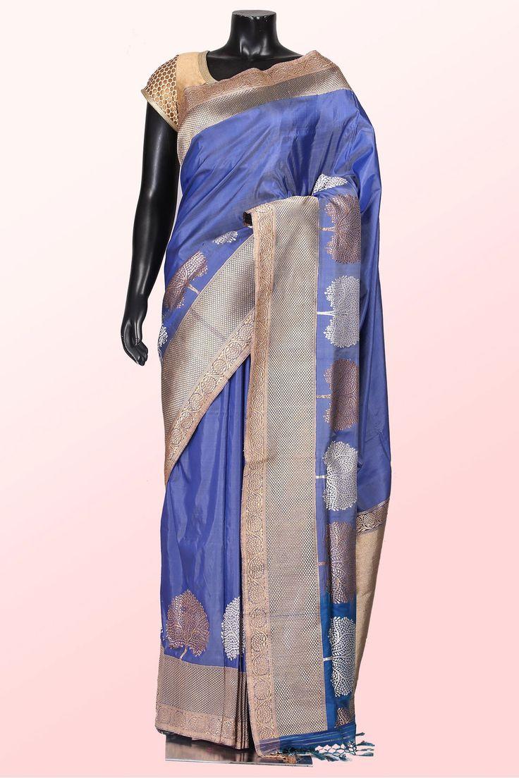 Passion homes borders gold zardozi border handmade designers - Steel Dark Blue Pure Banarasi Silk Saree With Bronze Light Gold Border Sr9894 Borders Onlineindian Fashion Designerssarees