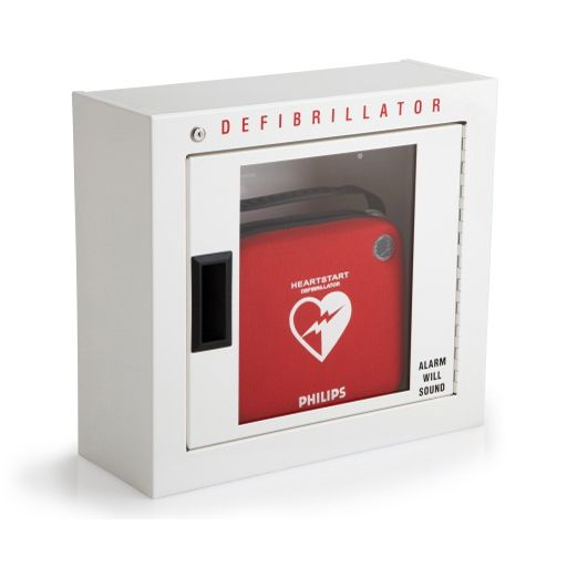 Workplace AED Package includes: 1 - Philips HeartStart (OnSite Defibrillator ) 1 -Battery 2 -Adult SMART Pads Cartridges 1 -Slim Carrying Case 1 -Fast Response Kit (CPR Mask, scissors, razor, gloves, towellette) 1 -Basic Alarmed AED Wall Cabinet 1 - Metal A.E.D. signage 5-Year Standard Warranty Support & Maintenance Program** $1900.00 + HST