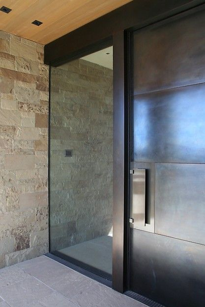 Glass and Steel Front Door Design Ideas