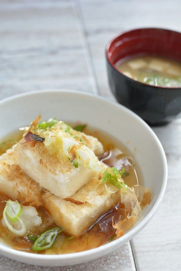 Agedashi Tofu - This deep fried tofu dish served with dashi sauce is a popular Japanese appetizer dish. Recipe on the blog.