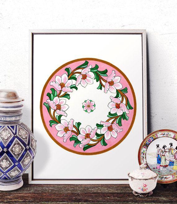 Vintage Pink Flower Watercolor Wall Art Floral by HermesArts
