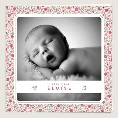 Faire-part de naissance fille Liberty Lavandine Éloïse rose