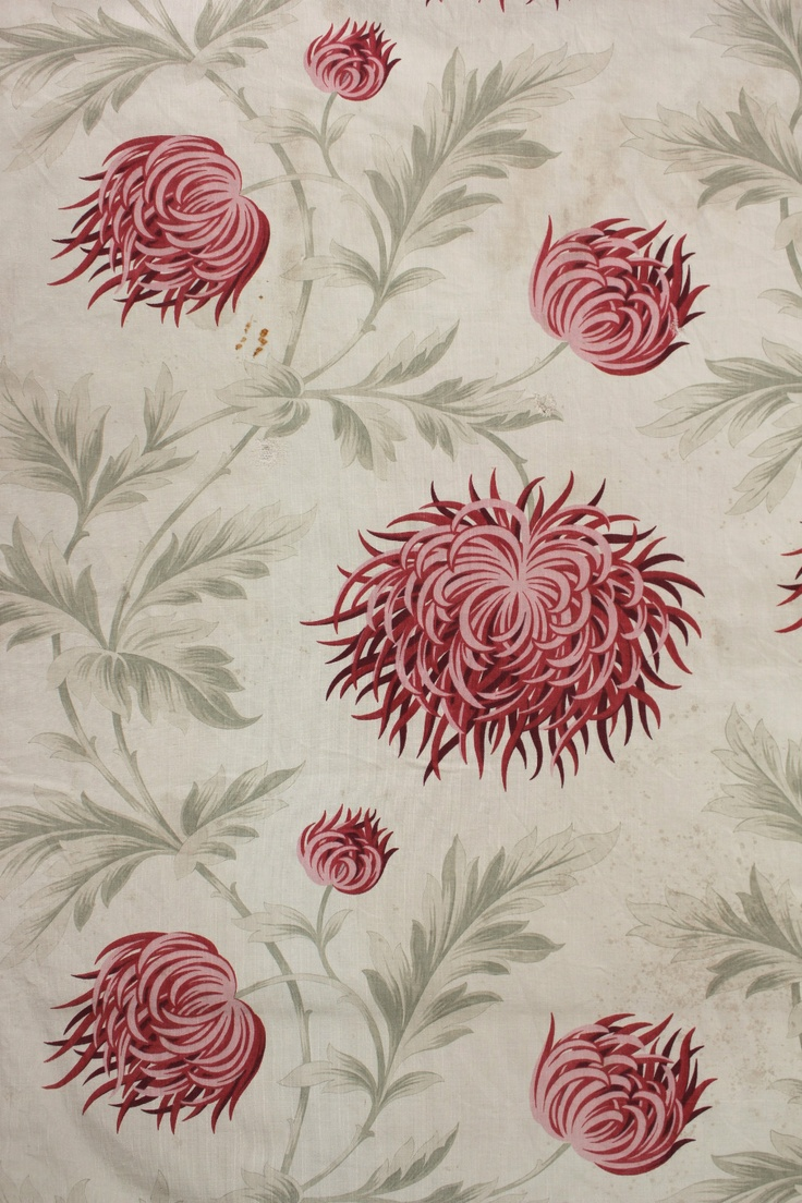 Antique French roller printed cotton c1900 Chrysanthemum print fabric ~ timeworn | eBay