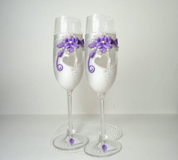 White Silver Purple Hand Decorated Wedding by JoliefleurDeco