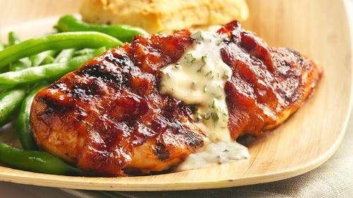 Bacon-Wrapped Chicken Wings with Bourbon Barbecue Sauce recipe from Betty Crocker