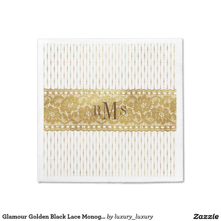 Glamour Golden Black Lace Monograms Napkins Disposable Napkin