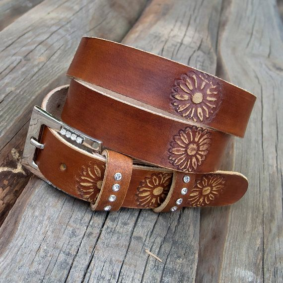 Womens leather belt Hippie leather belt Gipsy leather by JeansBelt