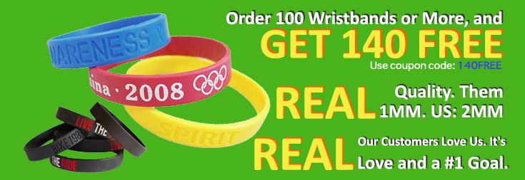 Wristbands  - no one can beat our prices. No Minimum and Rush production available. Make your rubber bracelets today!