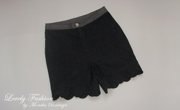 high waisted denim shorts with original trouser-legs (shorts made from long pants)