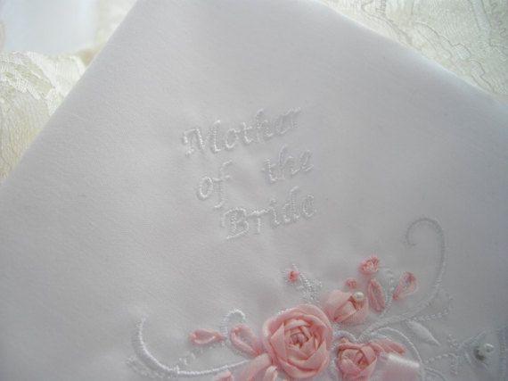 Mother Of The Bride Keepsake Handkerchief Wedding by handcraftusa