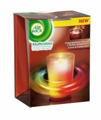 Air Wick Multicolour Scented Candle Cocoa & Fireside Glow Air Wick´s Colour Change Candle is infused with essential oils that smell delightfully fragrant when lit. As the candle burns, the fragrance is complimented by a soft and tranquil glow that starts to illuminate through the wax, creating a soft, changing rainbow effect. The fragrance and light work together to create a captivating atmosphere in your home.