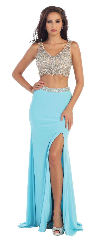 51 best prom short dresses images on pinterest short dresses 2016 sexy 2 piece prom long set high front slit formal dress ombrellifo Choice Image