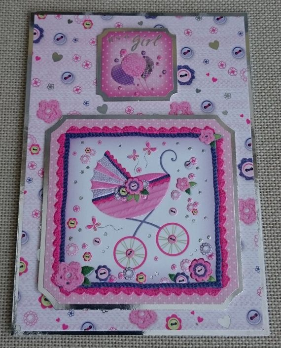 Handmade 5 x 7 Greeting Card  Baby Girl by BavsCrafts on Etsy