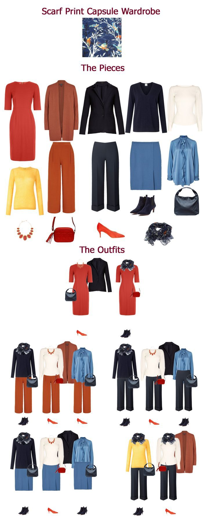 Autumn capsule wardrobe inspired by a scarf print