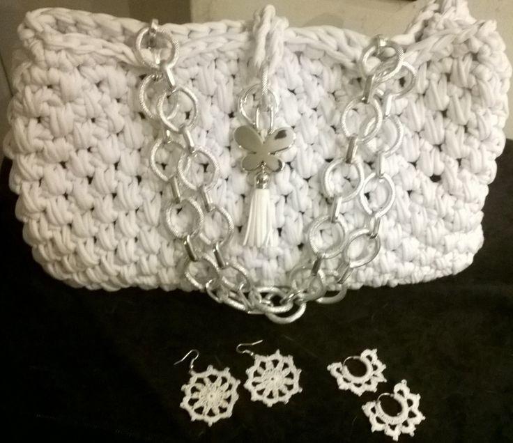 crochet bag and crochet earrings