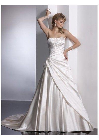 A-line simple pretty strapless wedding dresses