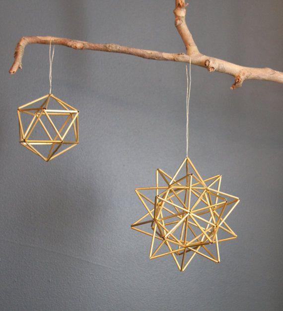 Brass Pollen ball mobile finnish himmeli sculpture by meginsherry