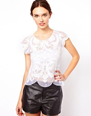 A sexy twist to your classic white tee. Warehouse Embroidered Mesh Top