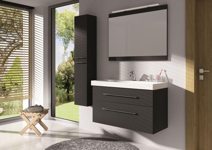 Barcelona 100 2S grafit mat z umywalką konglomeratową Aero 100 • Barcelona 100 2DR graphite matte with acrylic washbasin Aero100. #elita #meble #lazienka #barcelona #bathroom #furniture