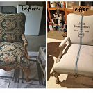 We painted the outdated upholstery on these antique chairs with a mixture of 50% Annie Sloan Chalk Paint in Paris Grey and 50% water. We mis...