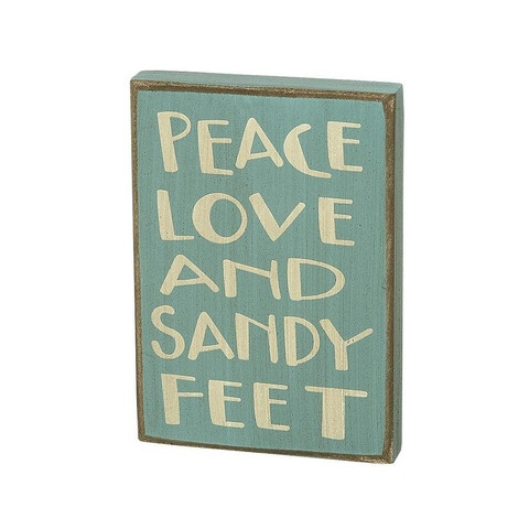 Peace, Love and Sandy Feet Sign
