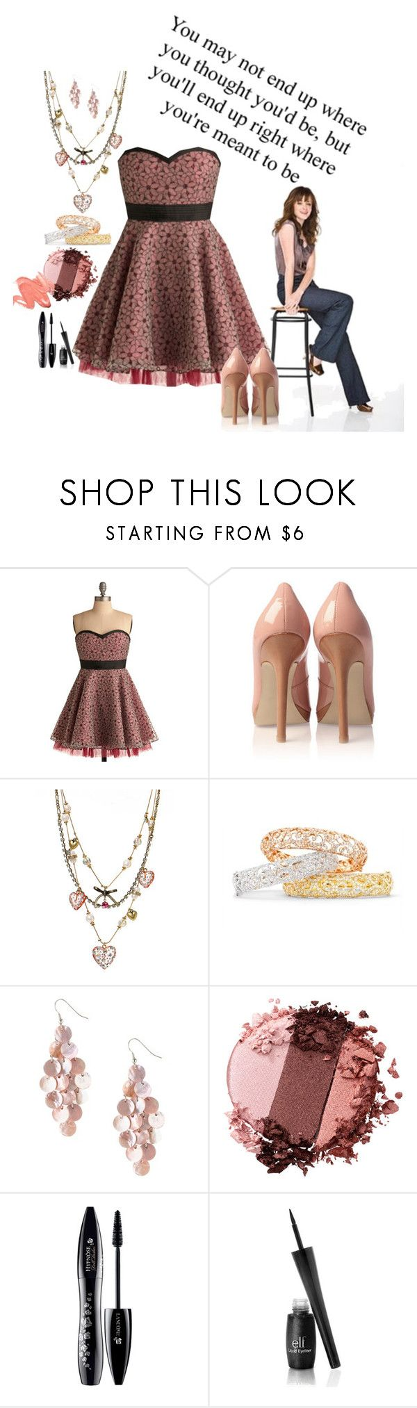 """""""Delta Dawn."""" by not-your-southern-bell ❤ liked on Polyvore featuring French Connection, Betsey Johnson, VIcenza, Stila, Lancôme and ELF Cosmetics"""